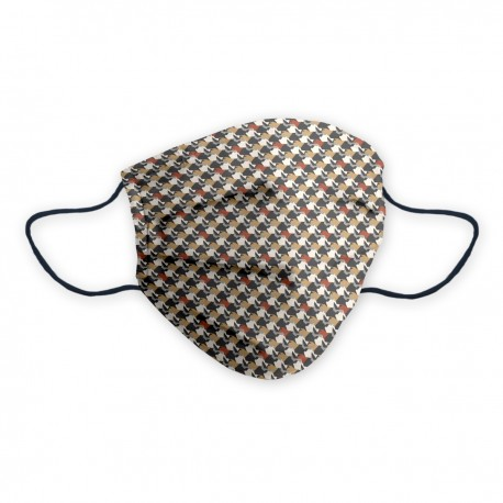 Máscara social certificada Gentelman con patrón geométrico y colores neutros