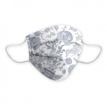 Lady certified social mask with elegant design in a blue floral under white background