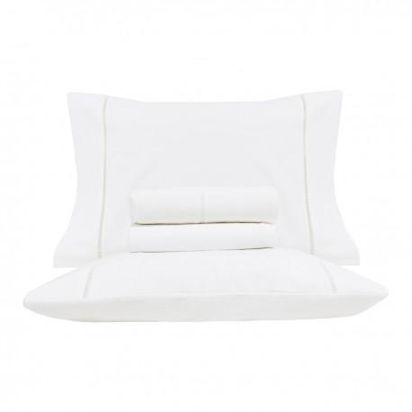 Parure de Draps en flanelle en velours blanc avec surpiqûres ouvertes - Timeless, by Lameirinho
