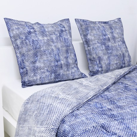 Quilted Throw Set MIDNIGHT Reversible Cotton Percale, LAMEIRINHO